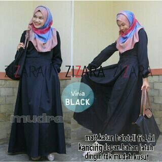 supplier baju gamis : zizara dress hijab / dress hitam /katun baloteli