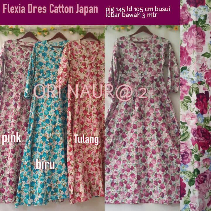 Jual supplier baju hijab rose dress katun jepang Agen baju gamis katun jepang