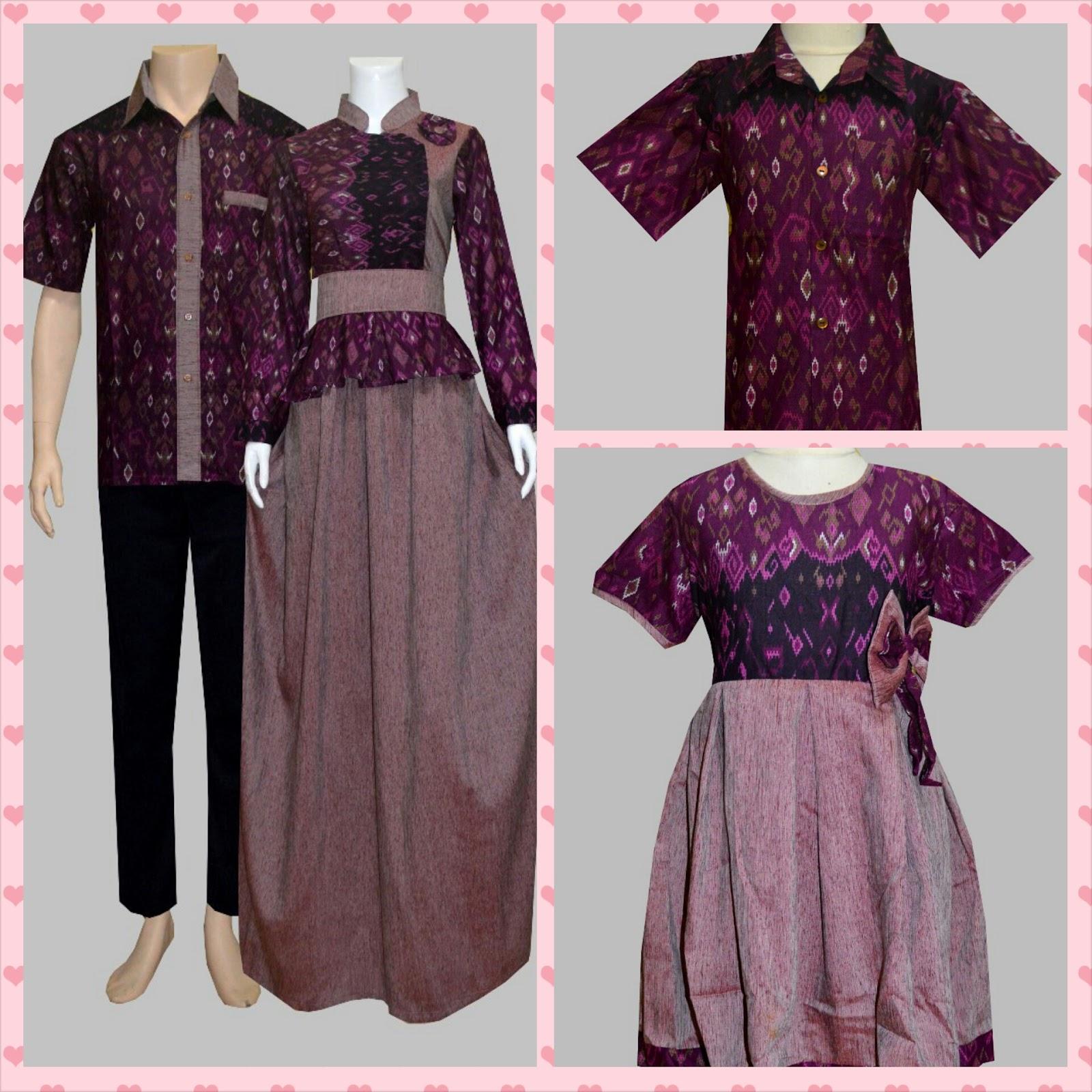 Jual bos7ae2 ungu gamis couple batik family butik online Jual baju gamis couple 2015