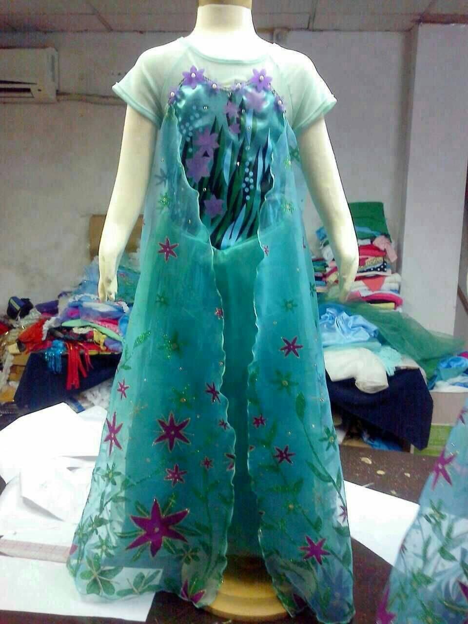 Jual Baju Frozen Fever Elsa Hijau Gaun Ulang Tahun Anak