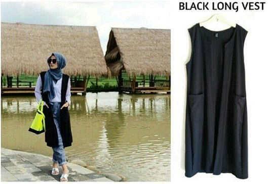 black long vest | rompi | vest | muslim | hijab
