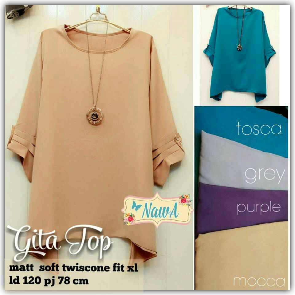 supplier baju hijab : gita top ori by nawa / kemeja polos