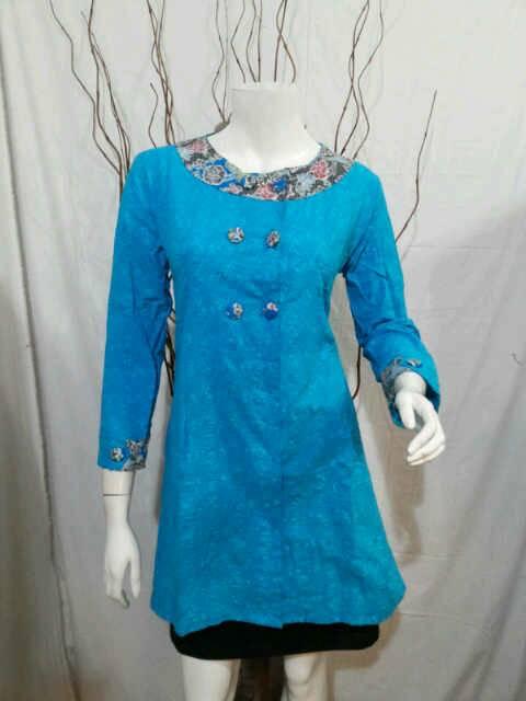 Jual Baju Kerja Batik Solo Blus Batik Embos Kancing