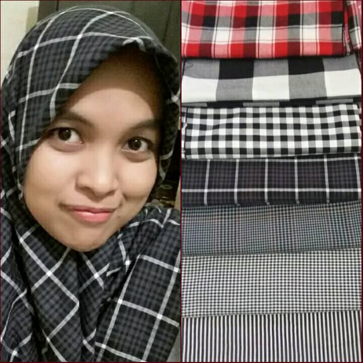 kerudung monochrome,hijab monchrome segi 4 bahan katun