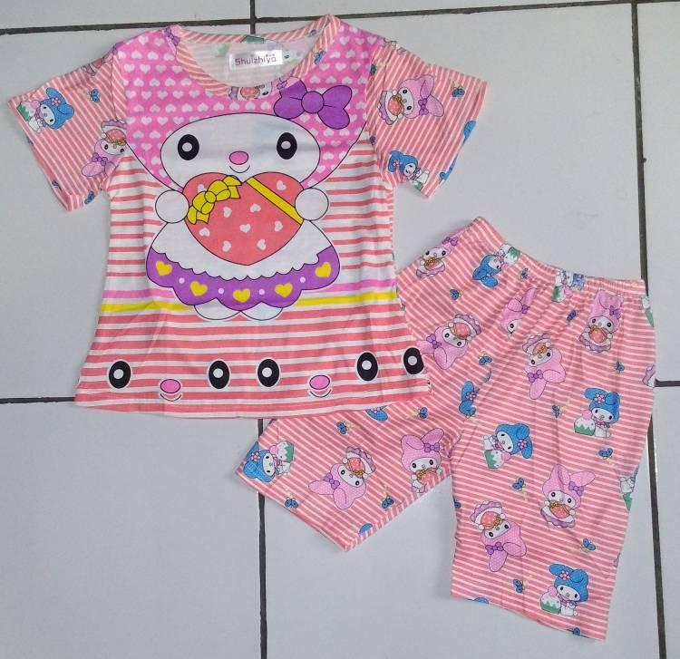 STKD189 - Setelan Anak Melody Love Stripe Peach Murah