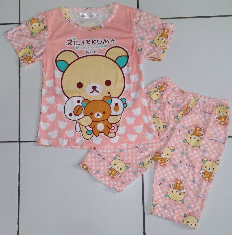 STKD190 - Setelan Anak Rilakkuma and Friends Peach Murah