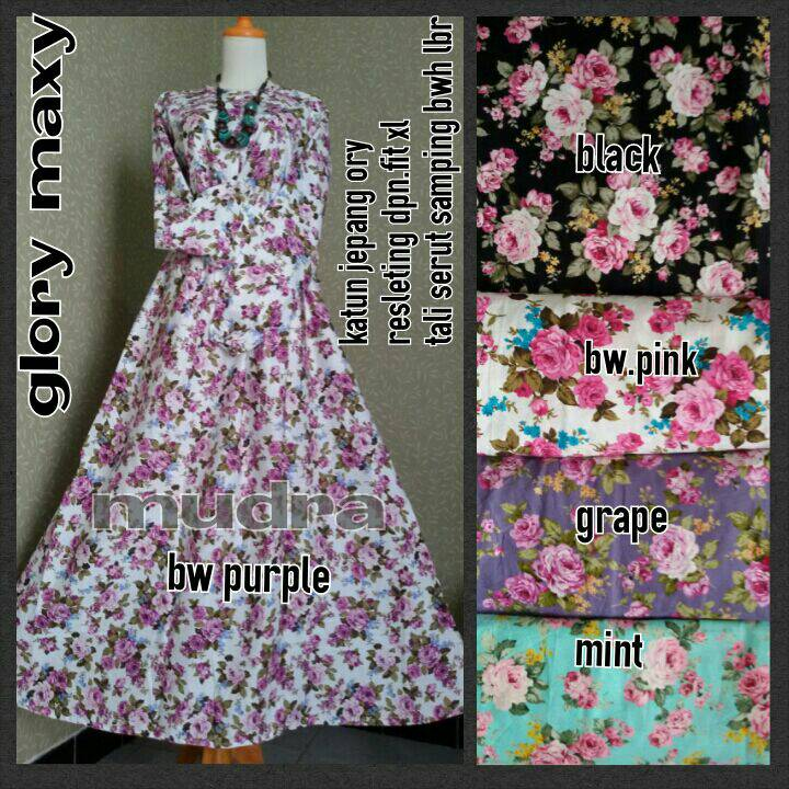 supplier baju hijab : glory maxi ori by mudra / rose dressn
