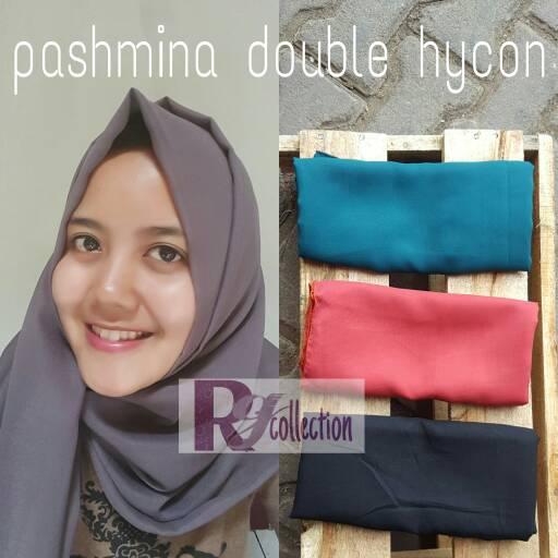pashmina hijab kerudung double hycon chiffon grey abu abu
