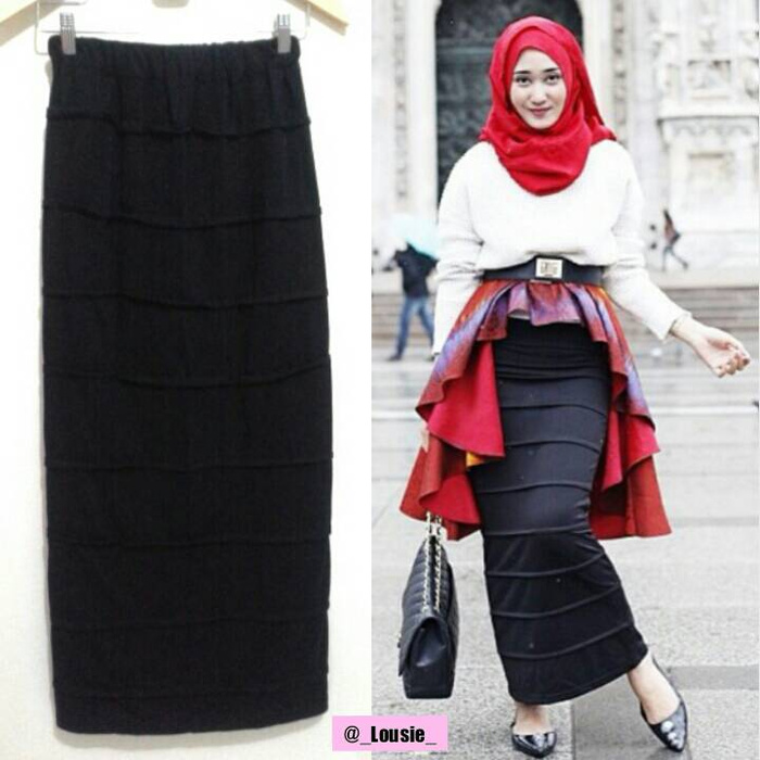 GRANDE HIJAB SOLO: PENCIL SKIRT (ROK PENSIL) BLACK/ HITAM