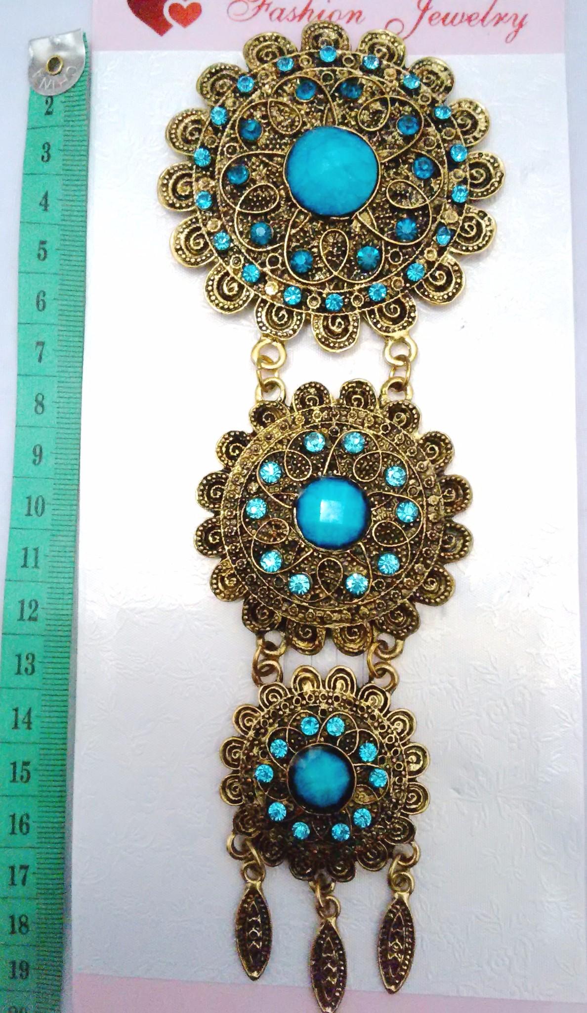 Bros Etnik panjang Tingkat Bunga Biru untuk hijab/kebaya/dress/jas