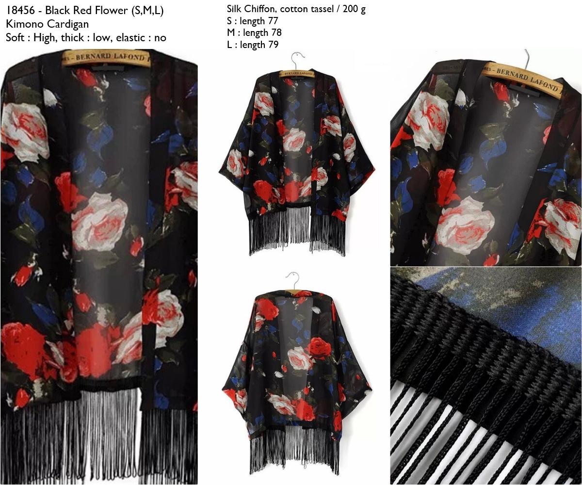 Jual Cardigan Kimono Import, Flower, Hitam, Black, Silk Chiffon ...