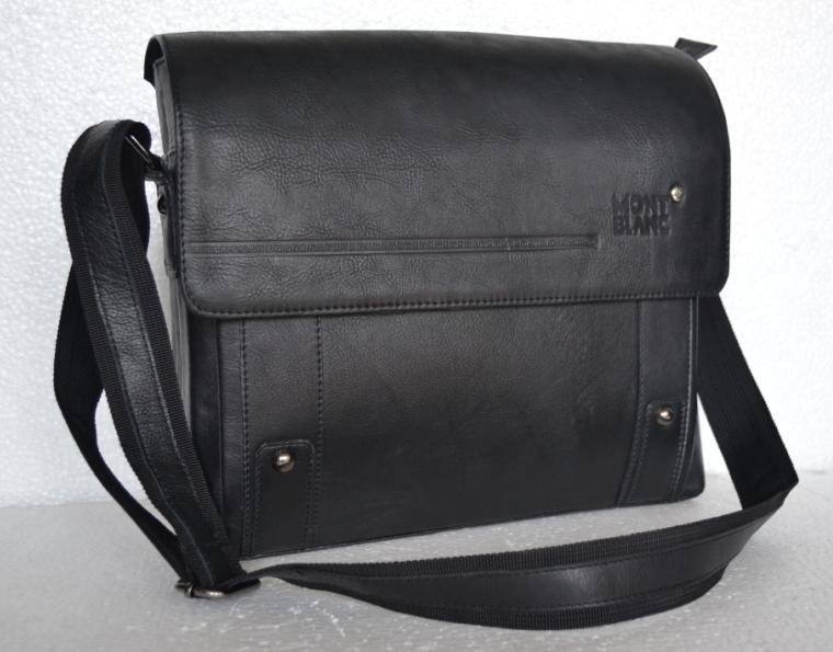 tas kerja pria kulit asli branded montblanc warna hitam
