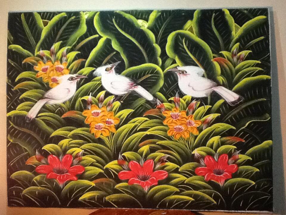 Jual Lukisan  Burung Jalak Putih Background hijau dan Bunga