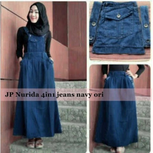 Set Hijab Maxi Kodok Jeans Navy 4in1