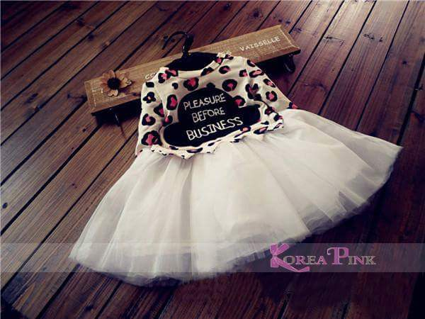 Dress Tutu Anak | Korea Pink  | Top Leopard | Murah