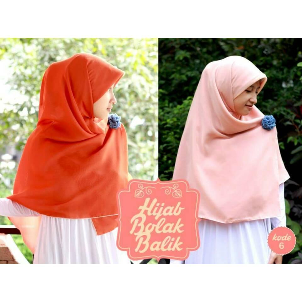 Hijab Syar'i Bolak Balik orange bata-peach
