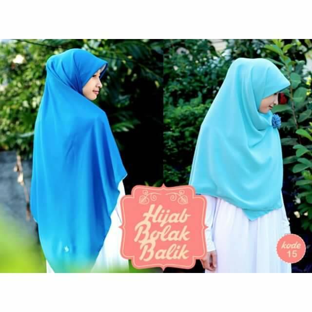 Hijab syari bolak balik biru turkis-biru langit