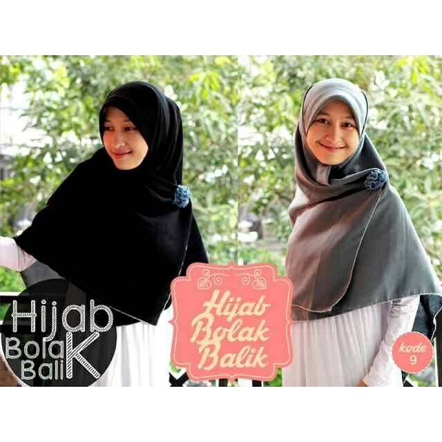 Hijab Syar'i Bolak Balik Hitam-Abu