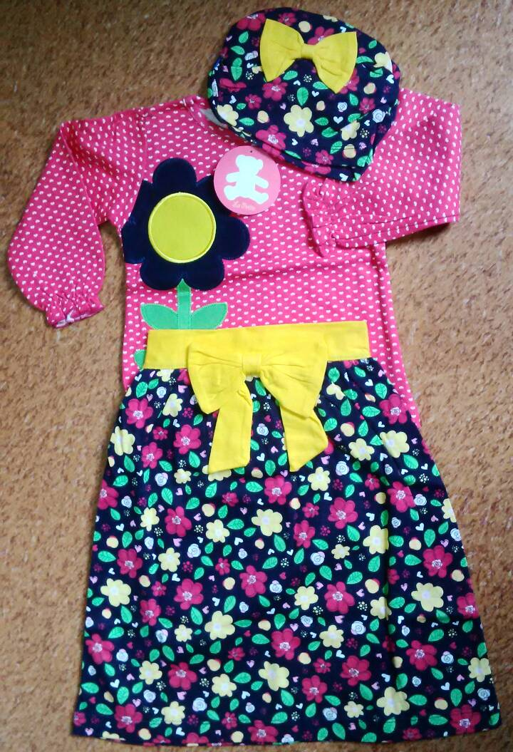 Setelan Baju Anak La Petite 3-4-5 Tahun Hijab Turban