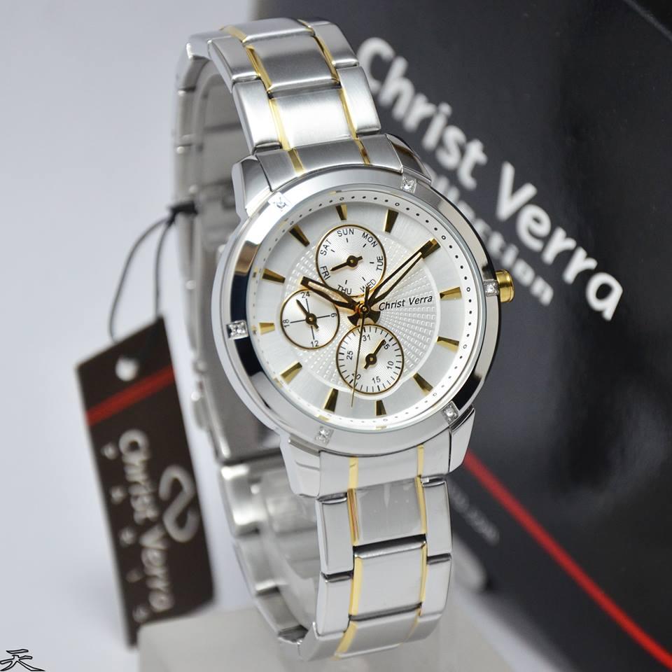Jam tangan Christ Verra 3413 combinasi Silver Gold