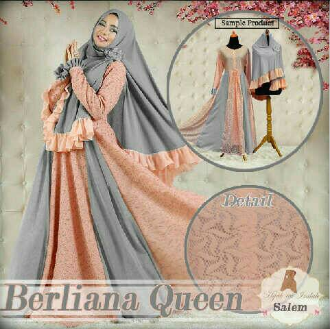 Set Hijab Gamis Syari bergo berliana Queen Busui fit XXL