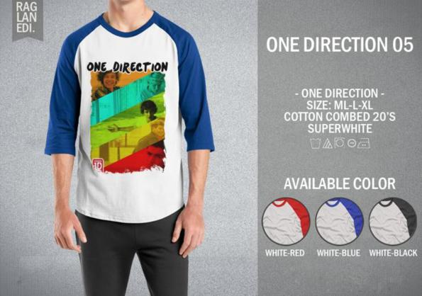 KAOS RAGLAN - ONE DIRECTION 05 MURAH | KAOS DISTRO MURAH | RABBANI DIS