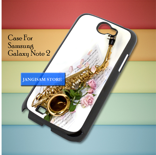 Saxophone and Rose Note Music Samsung Galaxy Note 2 Case