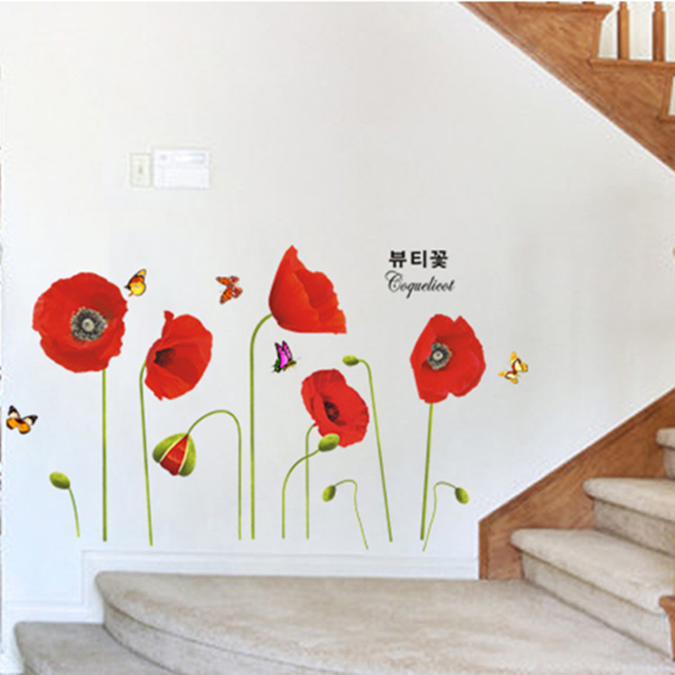jual red flower wall sticker transparant qiew shop