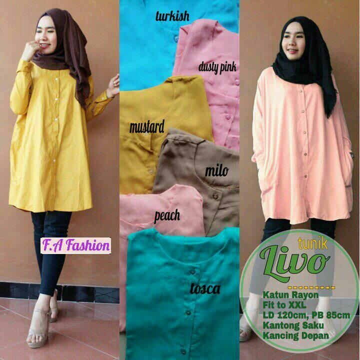supplier baju hijab : kemeja polos HQ livo tunik murah ori FA