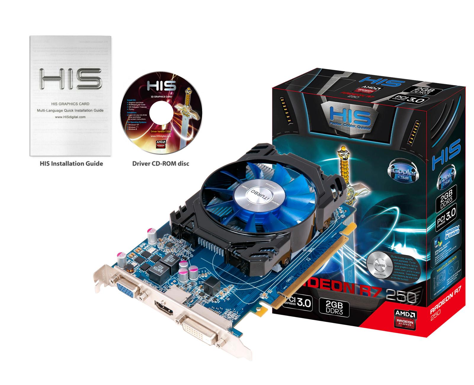 VGA HIS AMD RADEON R7 250 ICOOLER 2G DDR3 BOOST CLOCK