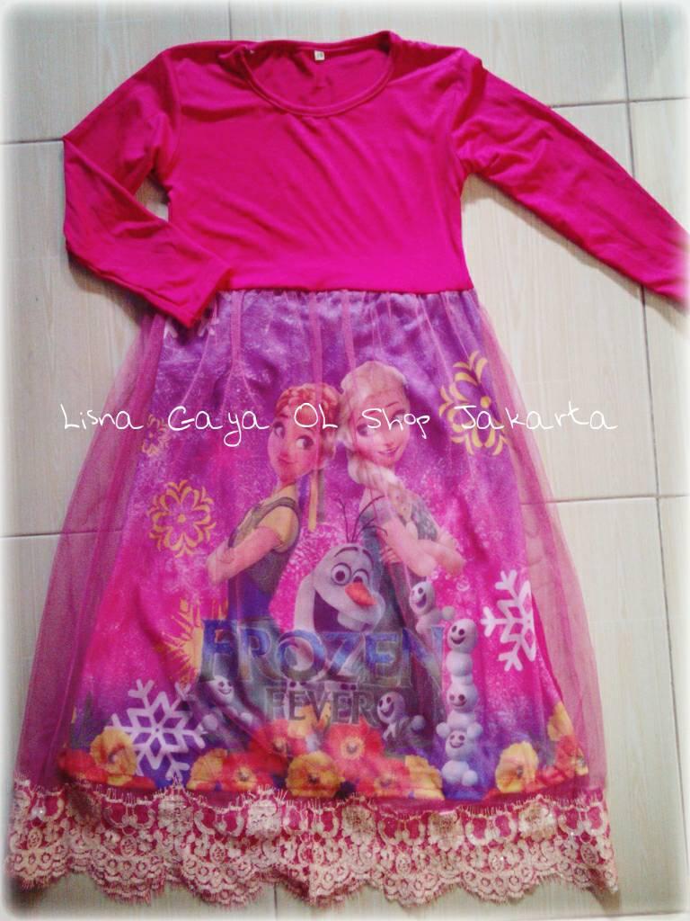 Gamis Anak Frozen/ Muslim/ Set Hijab/Jersey Sutra harga Terjangkau