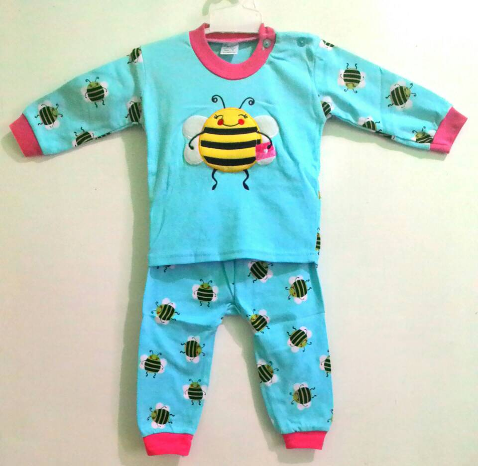 Jual Velvet Junior Setelan Panjang Baju Tidur Bayi Piyama Ukuran Xl Pendek Oblong Sml Animal Size S Bee Biru Lebah Lucu Anak