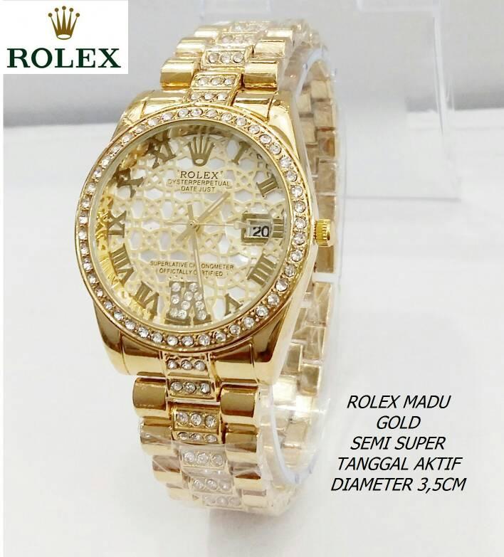 Jam Tangan Wanita / Cewek Rolex Madu Rantai Gold