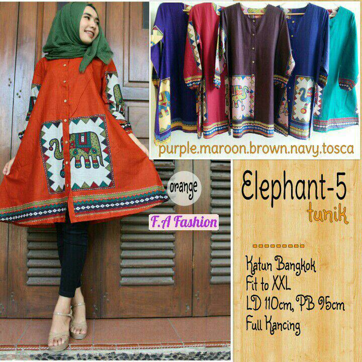 supplier baju hijab : elephant tunik / baju jumbo motif gajah