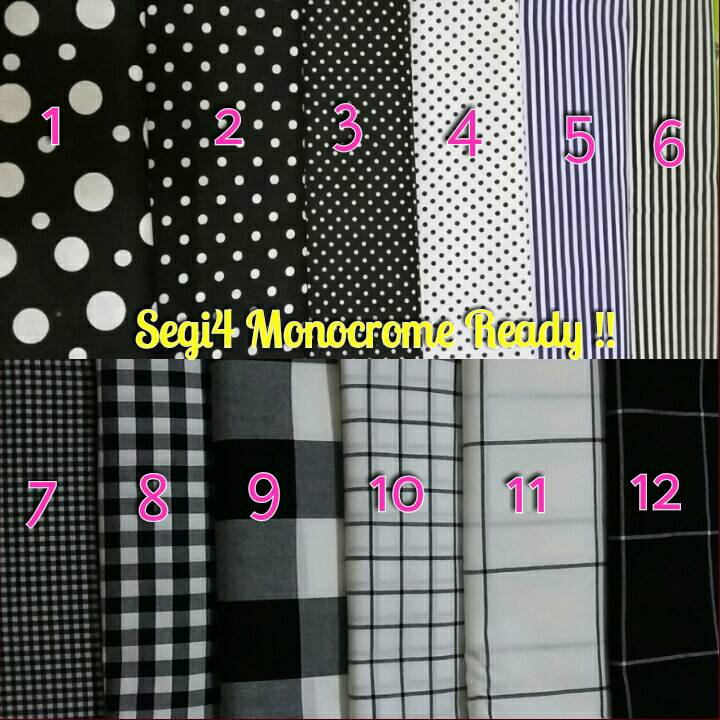 monocrhome square ,kerudung polkadot,hijab monochrome