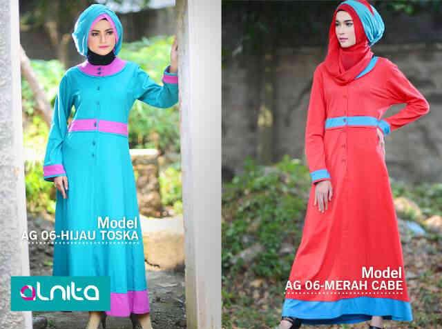 Jual Gamis Alnita Ag 06 Hijau Tosca Merah Cabe Hk Muslim Gallery