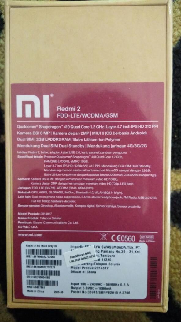 Jual Xiaomi Redmi 2 Prime Ram 2Gb Rom 16Gb Garansi TAM