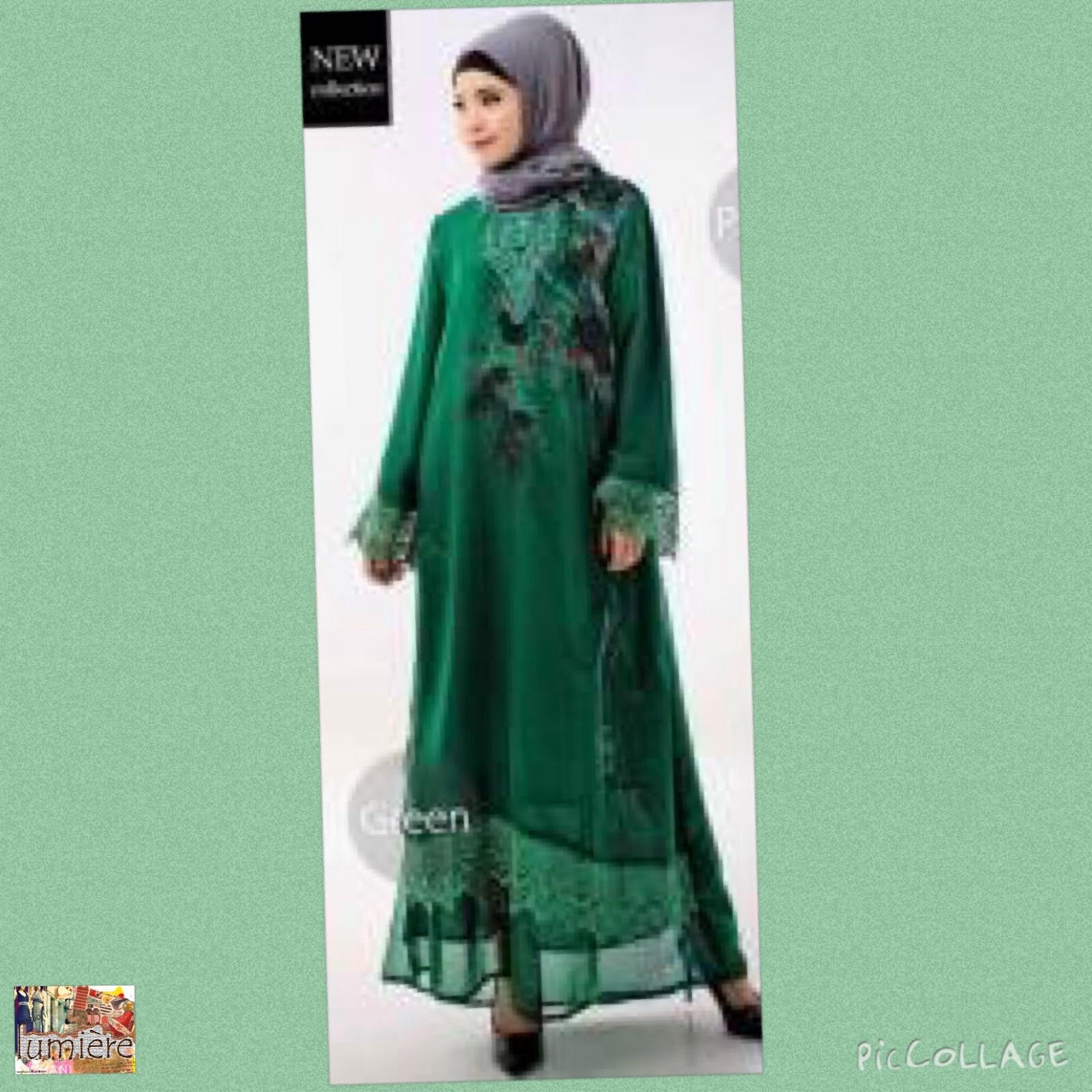 Jual Baju Muslim Wanita Kaftan Gamis Tunik Sifon Furing Hijau XL