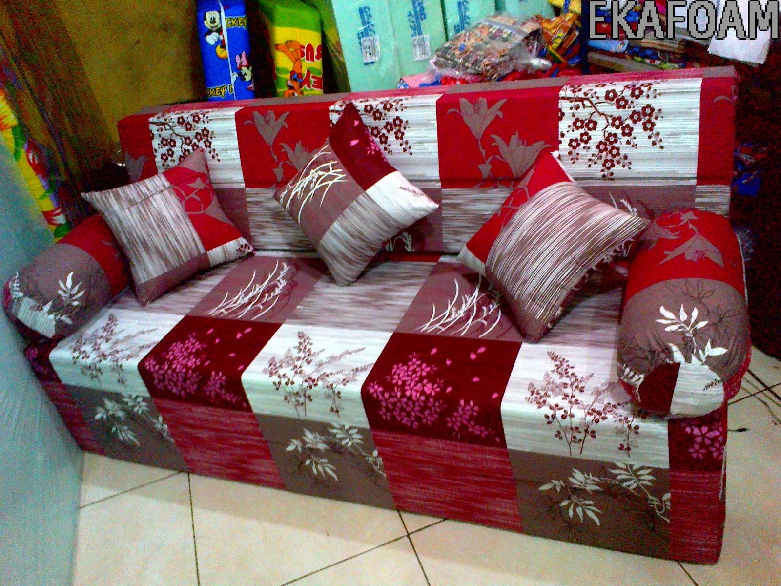 Jual SOFA BED INOAC ABSTRAK PADI MERAH MAROON 200 X 180 X 20