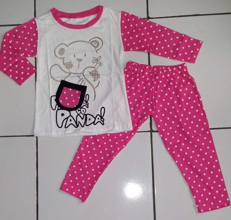 STKD167 - Setelan Piyama Anak Pink Panda Go Panda Murah