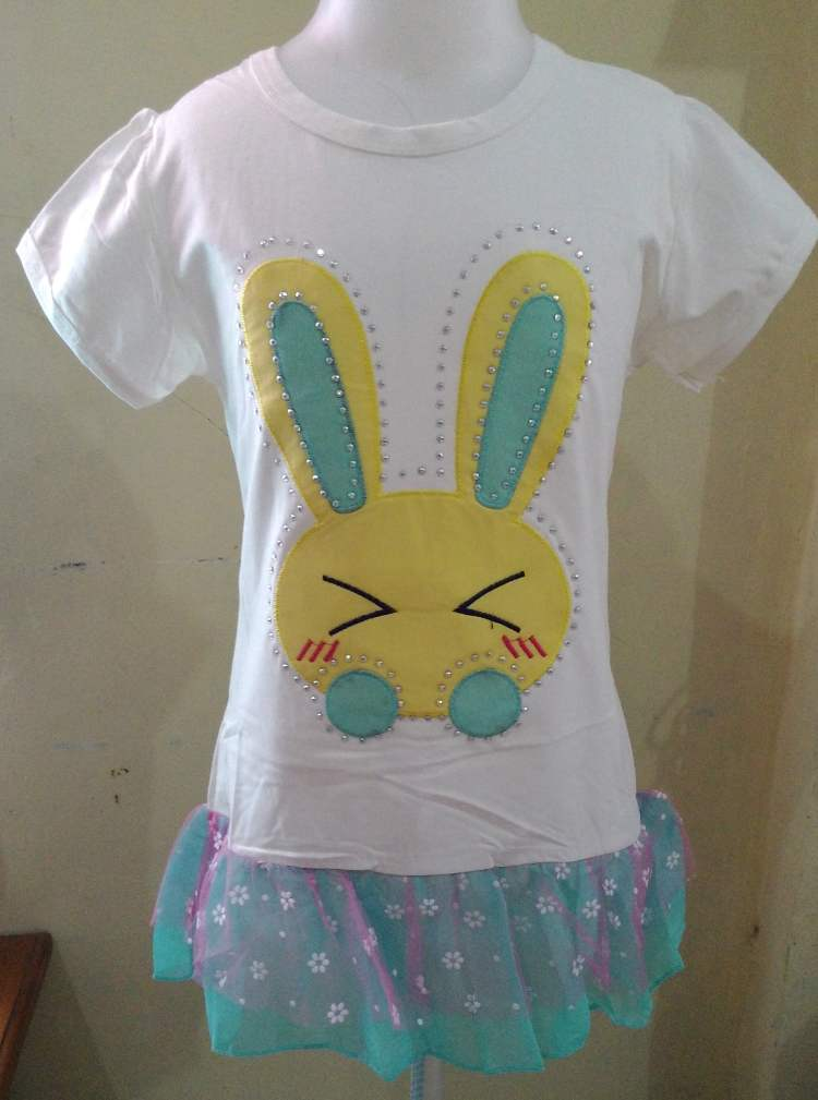 DRKD89 - Dress Anak Import Rabbit White Murah