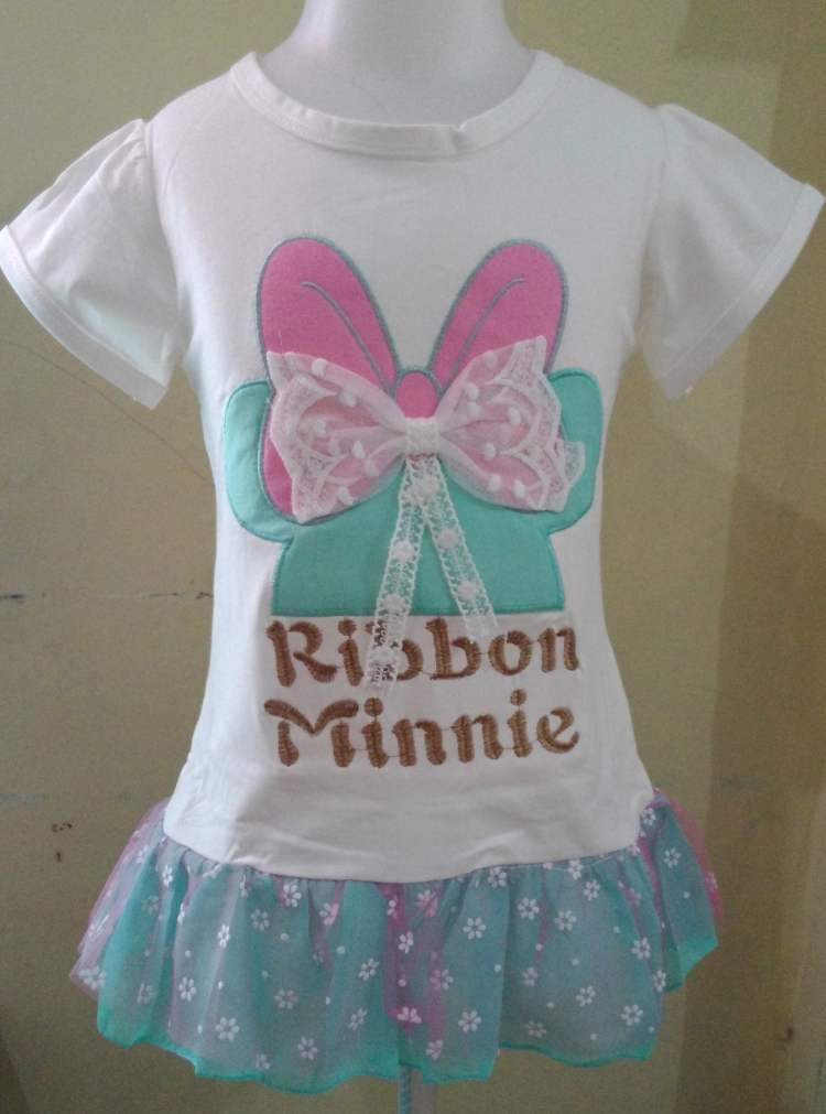 DRKD90 - Dress Anak Import Ribbon Minnie White