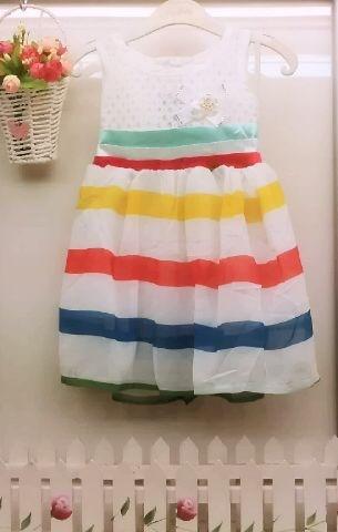 DRKD92 - Dress Anak Import Rainbow