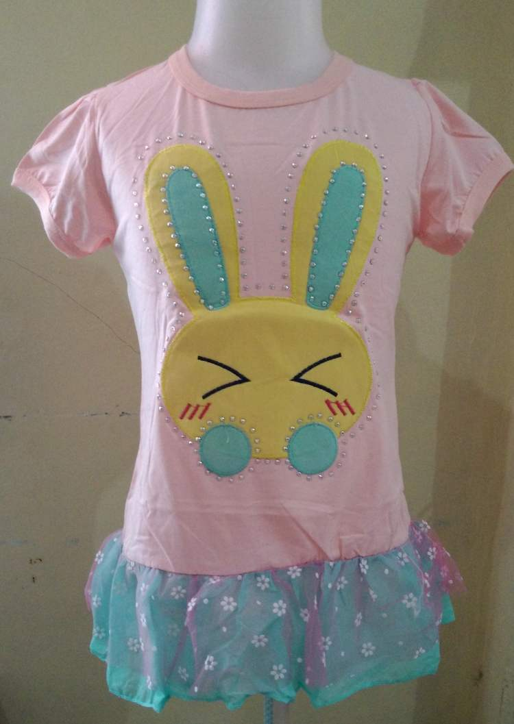 DRKD88 - Dress Anak Import Rabbit Peach Murah