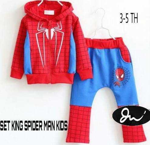 SET KING SPIDER MAN KIDS / SETELAN BAJU ANAK MERAH 3 4 5 TAHUN