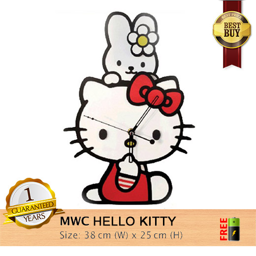 Jam Dinding HELLO KITTY ~ Modern with High Quality Woods