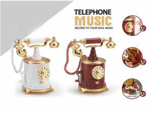 Kotak musik telephone , classic dial berputar,phone , telephone jadul