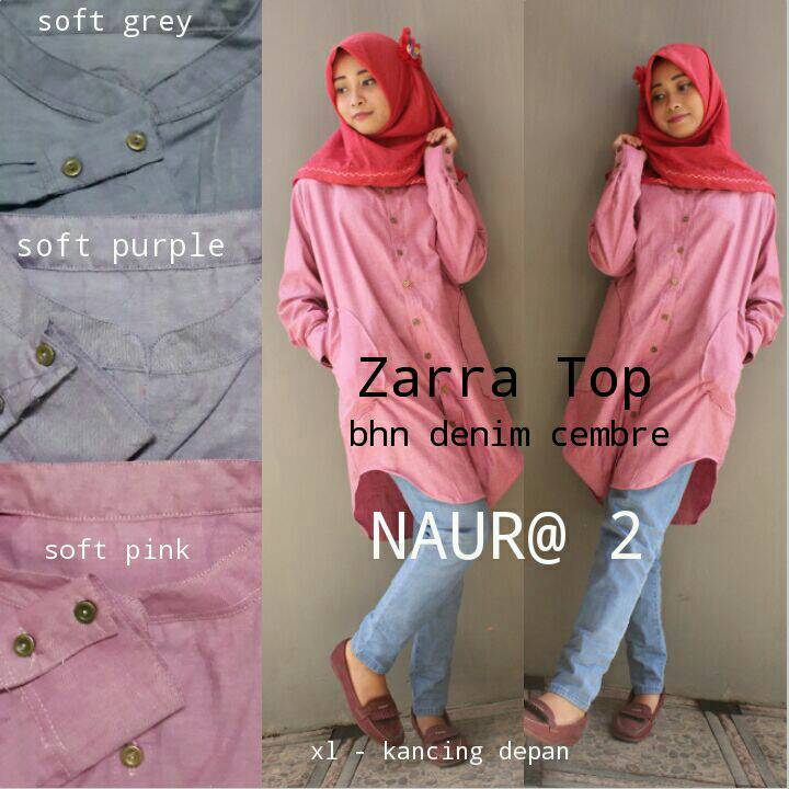 supplier baju hijab : zara top ori by naura2 / kemeja polos