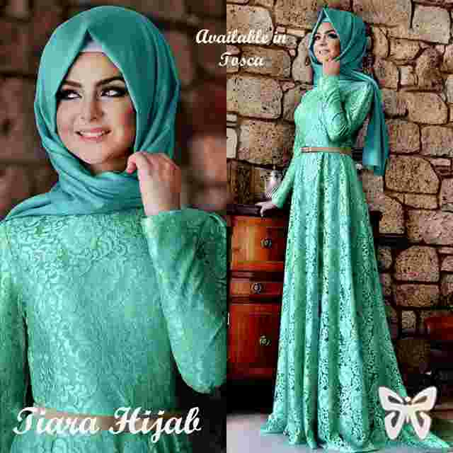 Maxi hijab brokat furing spandek tiara belt (tosca) M