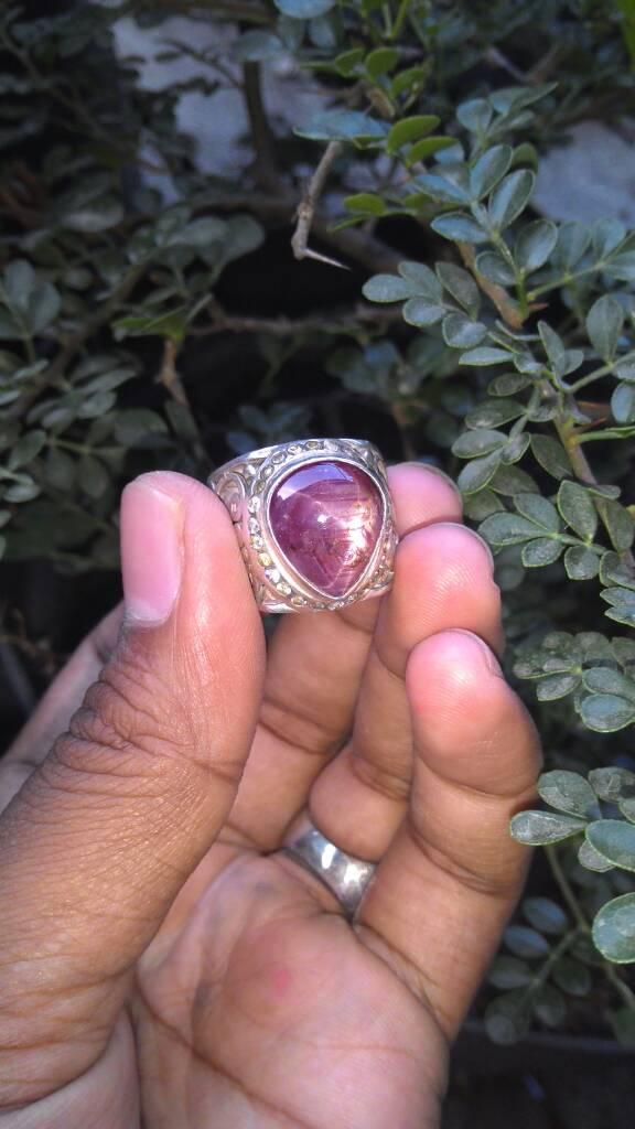 cincin batu natural ruby ring perak